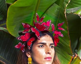 Corazón rot Schmetterling Fascinator Krone, Festival Blumenkrone, Kopfschmuck, Schmetterling Kopfschmuck, Tag der Toten