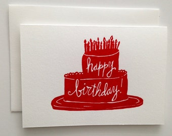 Set of 6 - Letterpress Greeting Card - Happy Birthday