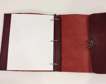 "Ring Binder Leather Case,1.5"" Ring Binder,Handmade Leather Diary, Journal Covers, Notebook"