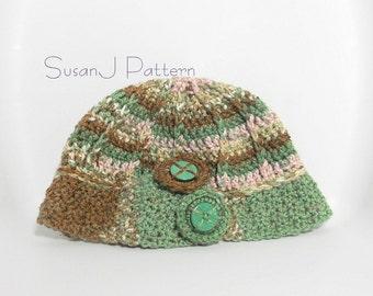 Crochet Button Hat - Crochet Pattern