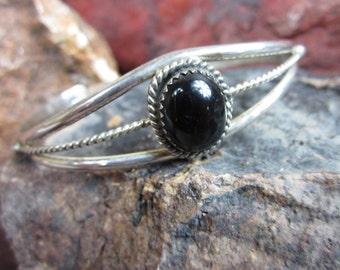 1970s  Silver Onyx Bracelet. American Indian Cuff