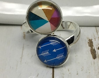 Geometric Blue White Arrow Pattern Silver Tone Adjustable Ring