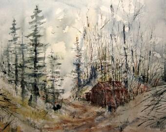 Original Watercolor Landscape Painting 11X15, hunting fishing cabin, watercolor painting,watercolor art,landscape painting,woodland painting
