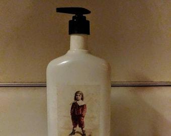 Vintage  Glass Liquor Bottle Pump Hand Dish Soap Dispenser