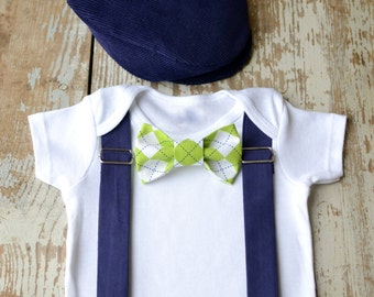 Baby Boy Clothes Bow Tie Flat Cap Boys Wedding Outfit Navy Cap Lime Green Argyle Bowtie Coming Home Cake Smash Ring Bearer Golf 1st Birthday