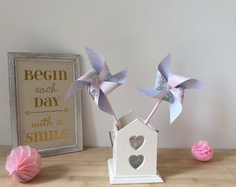 Windmills, pink and purple, pastel, wedding, christening, deco table