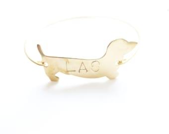 Personalized Bracelet, Monogram Bangle, Doxie Dog Bangle, Custom Initial Jewelry, Personalized Jewelry, Initial Monogram Bracelet