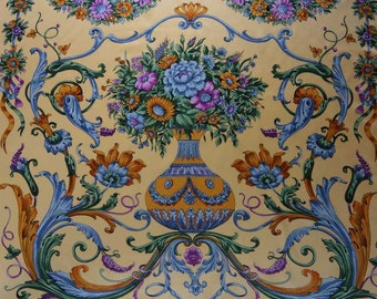 """Huge 42"""" Charmeuse Silk Scarf with Baroque or Renaissance Ornaments Floral Bouquet Vase Hand Rolled Edges"""