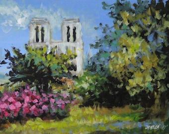 Notre Dame de Paris, Impressionism, Paris painting, original painting, cityscape art