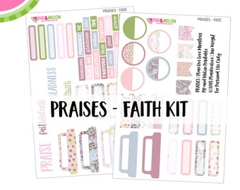 PRAISES - Faith Bible Journaling Mini Kit | Psalm 100 | 60+ piece Pre-Cut | Faith Journaling | F002