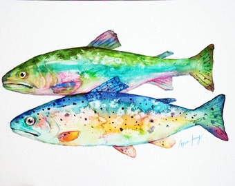 Trout Original Watercolor Painting, Whimsical Fish Art, Rainbow Trout Watercolor Illustration, Modern Animal Art, Gift For Dad, Colorful Art