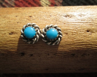 Petit Point Turquoise and Sterling Silver Post Earrings