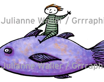 People with food: fish digital printable clipart