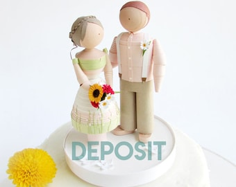 Handmade Wedding Figurines DEPOSIT, Wedding gift, wedding shower gift, Quilled Paper wedding figurines, bride and groom, wedding decor