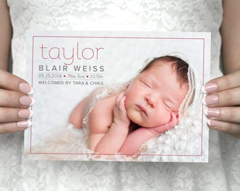DIY printable custom photo baby announcement card - Taylor.
