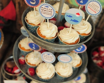 DIY, Gone Fishing CUPCAKE TOPPERS