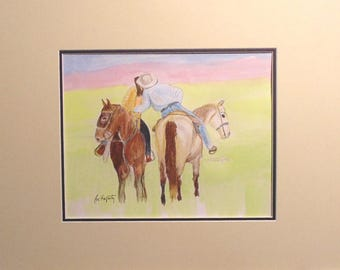 Cowboy Kissing Cowgirl.  One of a series in different media.  This one is colored pencil and watercolor.
