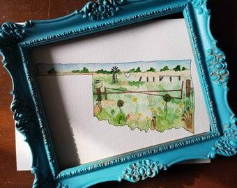 Oklahoma landscape, original oklahoma watercolor painting, oklahoma silhouette, oklahoma art, watercolor landscape, sunflower, windmill