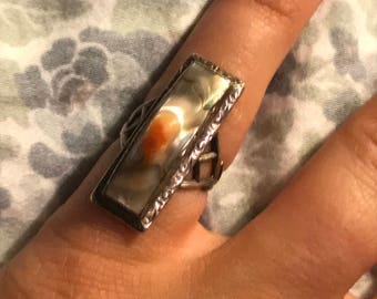 Victorian sterling blister pearl ring