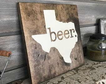 BEER Hand-Painted Wooden Sign - bar lover local man cave brew wedding craft funny fun silly gift texas state tx austin dallas houston atx