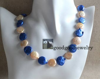 navy blue and champagne Pearl Necklace -12-14mm freshwater pearl necklace,coin pearl necklace, bridesmaid necklace,statement necklace