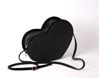 black velvet heart bag
