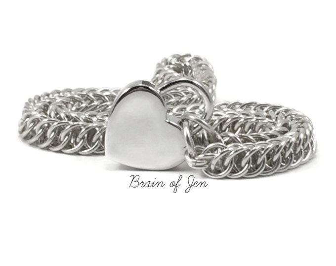 Slave Collar Solid Sterling Silver Chain and Heart Padlock Submissive Day Collar