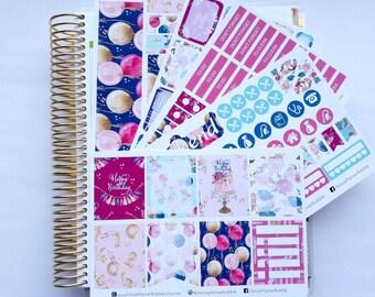 Birthday queen weekly kit to fit Erin Condren, sticker kit, planner stickers, weekly stickers, birthday stickers, celebration stickers