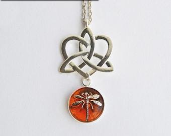 Silver Celtic Knot Heart + Dragonfly in Amber Czech Glass Pendant Necklace - Claire Fraser Sassenach Jewelry - Outlander inspired