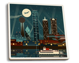 Dallas, Texas Retro Skyline (no text) - LP Artwork (Set of 4 Ceramic Coasters)