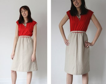 Vintage 60s 70s MOD Retro Tan Red Color Block POLO Collar Sleeveless High Waist A-Line Dress - Small Med