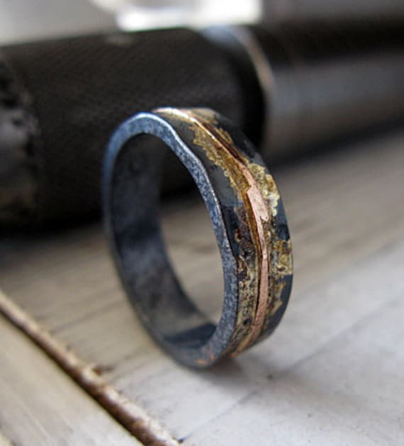 Mens wedding band mens wedding ring oxidized ring black gold like this item junglespirit
