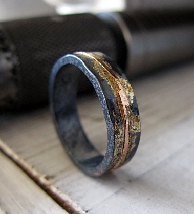 Mens wedding band mens wedding ring oxidized ring black gold zoom junglespirit Image collections