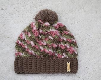 Women's Pink Camo Crochet Slouch Hat, Crochet Hat, Ready To Ship