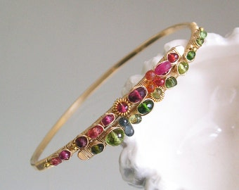 Asymmetrical Gemstone Bracelet in 14k Gold Fill, Wire Wrapped Bangle with Sapphire, Green Peridot, Ruby, Spinel, Chrome Diopside