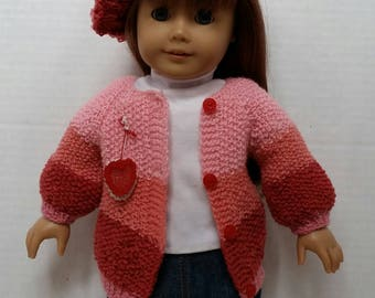 "Crochet Valentine Doll Sweater and Hat set  fits 18"" American Girl Doll"