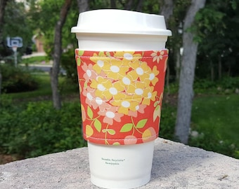 FREE SHIPPING UPGRADE with minimum -  Fabric coffee cozy / cup sleeve / coffee drink sleeve / Burst of Flowers
