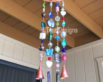 Glass Beaded Wind Chime with Copper and Bells