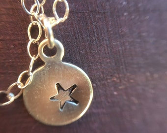 Hand Stamped Dainty Star Sterling Silver Necklace