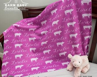 Personalized Show Pig Baby Blanket- farm nursery, fleece receiving blanket, farm animal stroller blanket, stock show baby shower gift