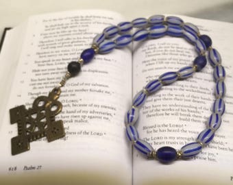 White Gooseberry African Trade Beads Anglican Rosary  Protestant Prayer Beads     Loyal Rosary   Episcopal Rosary \\ Blue  prayer Beads