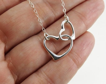 Heart necklace Sterling silver Friendship necklace Love gift for mom necklace Gift for her Friendship gift Dainty necklace Double heart