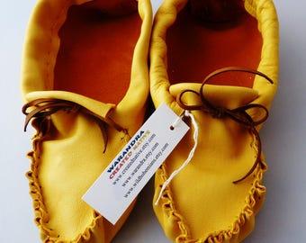 Adulte en cuir mocassins femme taille 4, regalia, chaussure de maison, chaussures de danse, mocassin plaines,