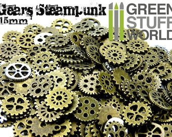 Set 85gr. - COGS and GEARS Steampunk - 50-60 units - Sizes 15mm - Beads Mix