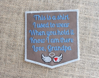 MEMORY Patch, Ready to Ship, Iron On or Sew on Memory Pillow Patch, This is a shirt Patch Love Grandpa,  Memorial Quilt Label, Angel Wings