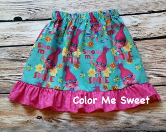 Trolls, Poppy dress, Poppy costume,  poppy ruffle skirt, princess poppy, trolls party, trolls birthday party, Poppy dress up