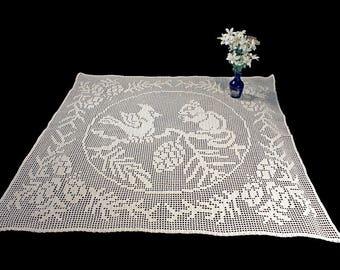 Tablecloth, Wall Hanging, Curtain, Crochet, Squirrel and Bird Design, Filet Crochet, Square, Ecru, Natural