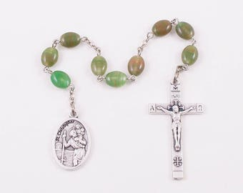 Saint Christopher Chaplet, Camo Green Czech Glass Beads, Patron Saint of Travellers, Truckers, Gardeners, the Air Force & Automobile Drivers