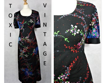VINTAGE 1960's 1970's Black Ditsy Floral Scoop Neck MAXI Dress. Uk Size 14. Boho, Retro, Chic, Elegant, Sophisticated, Evening, Pretty, Cute