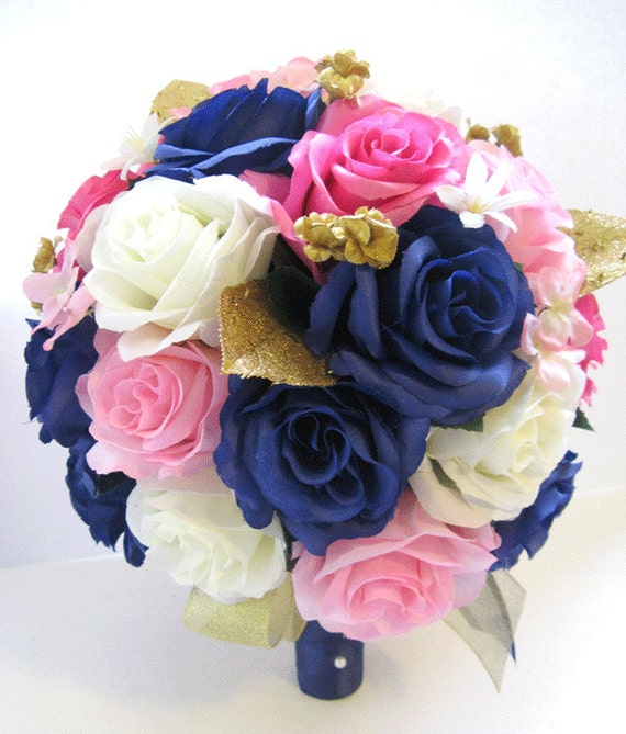 Wedding silk flowers bridal bouquet hot pink navy light pink mightylinksfo